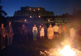 Equinox Mayan shaman fire ceremony at Caracol 2012