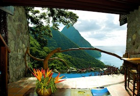View from rooms at Ladera on St. Lucia