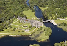 Aerial view of Ashford Castle in Ireland