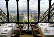 View from Le Jules Verne restaurant in Paris