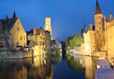 View of Bruges, Belgium at Night