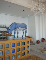 Donkey sculpture in Mykonos Blu Lobby