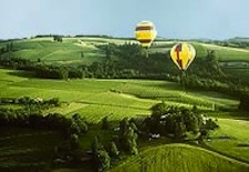 Balloons floating iver Willamette Valley in Oregon