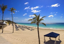 The beach at Elbow Beach resort in Bermuda