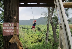 ziplining at Kipu Ranch