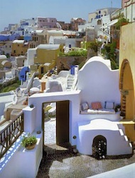 1864 The Sea Captain's House Captain's Suite courtyard on Santorini