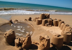 beach sand castles ocean