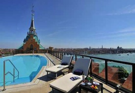Rooftop pool at Hilton Molino Stucky Venice