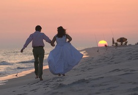 wedding beach sunset
