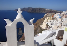 View of the caldera from Oia on Santorini in the Greek Islands