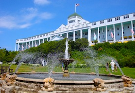View of the Grand Hotel on Mackinac Island in Michigan