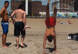 Handstand beach mullet