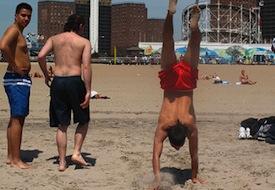 Handstand beach mullet