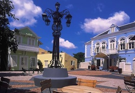 Courtyard at the Sandton Kura Hulanda Hotel in Willemstad Curacao