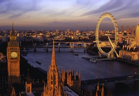 View of London Eye from Westminster