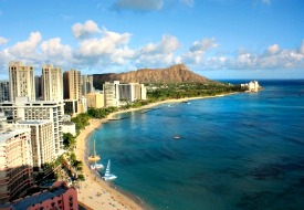Overview of Honolulu and Waikiki Beach