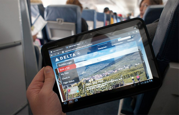 Tablet on plane