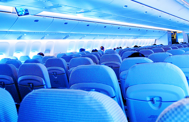 Blue Airline Seats