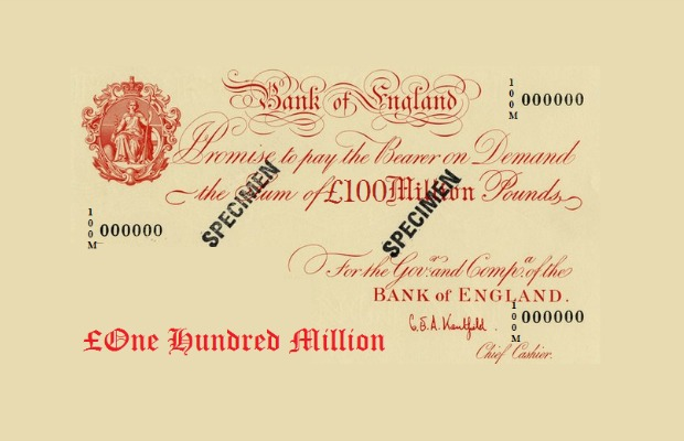 100,000,000  British pound note