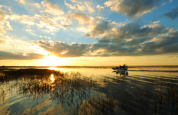 sunrise on boggy creek airboats in kissimmee, florida