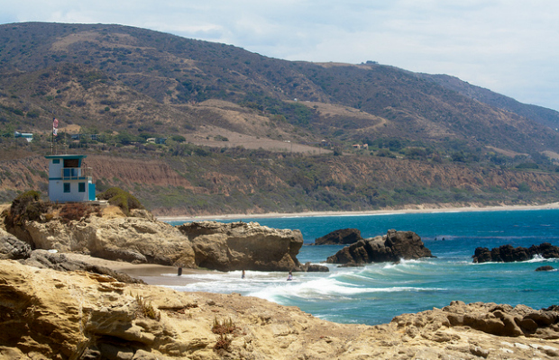 Quiet Leo Carrillo State Beach in Malibu, Southern California