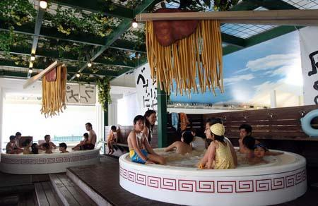 ramen noodle bath at japanese spa