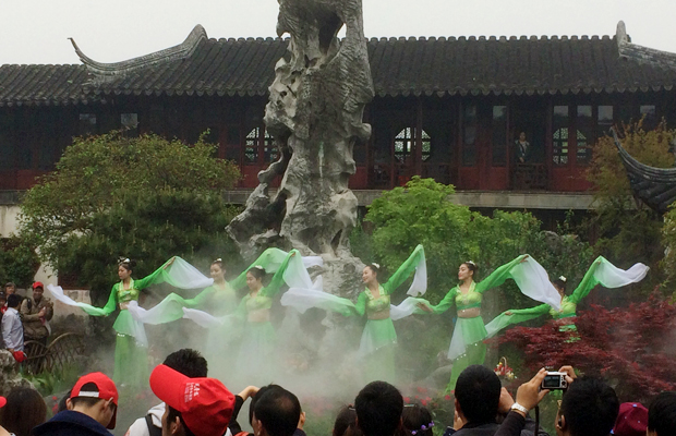 Chinese water sleeves dance, Lingering Garden, Suzhou, China