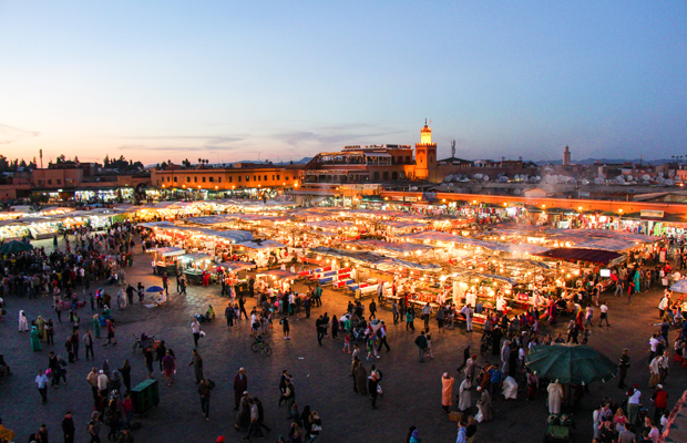 Jemaa el fna, marrakech, morocco, by night