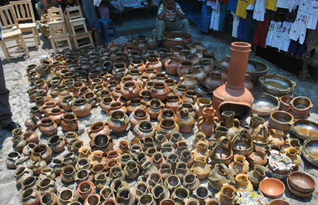 terracotta pottery at Chichicastenango Market Guatemala