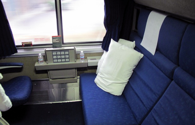 amtrak overnight train - sleeper roommette