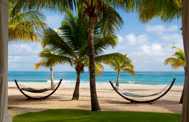 beach hammocks at Courtyard by Marriott Isla Verde Beach Resort, San Juan, Puerto Rico