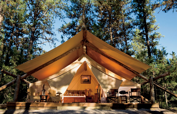 glamping at the resort at paws up in montana (river camp tent)
