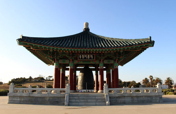 korean bell of friendship in angel's gate park, san pedro, california