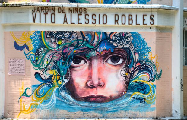 Street mural by Jorge Tellaeche in Colonia Roma Norte, Mexico City, Mexico