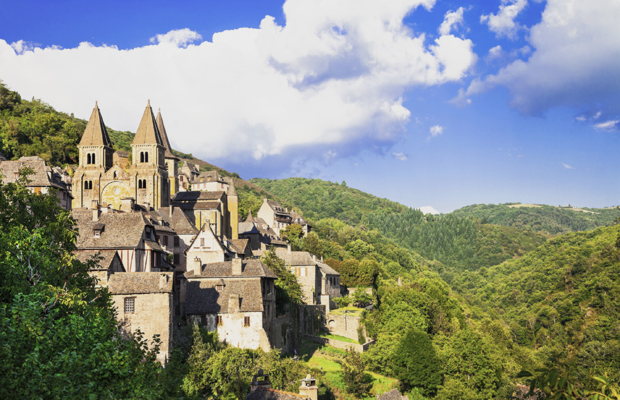 Medieval village & Abbey Saint Foy in Conques, Midi-Pyrénées, France