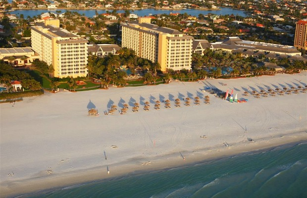 An aerial view of Florida's Marco Island Marriott Beach Resort, Golf Club & Spa