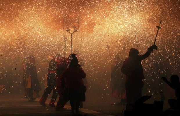 The annual fire run in Catalonia