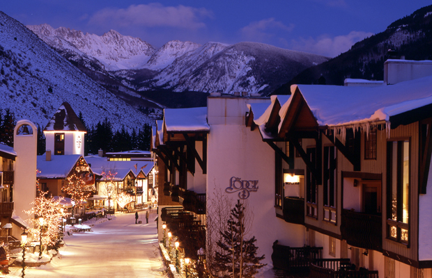 Twilight Scenic View of Vail Village with Gore Range and the Lodge at Vail