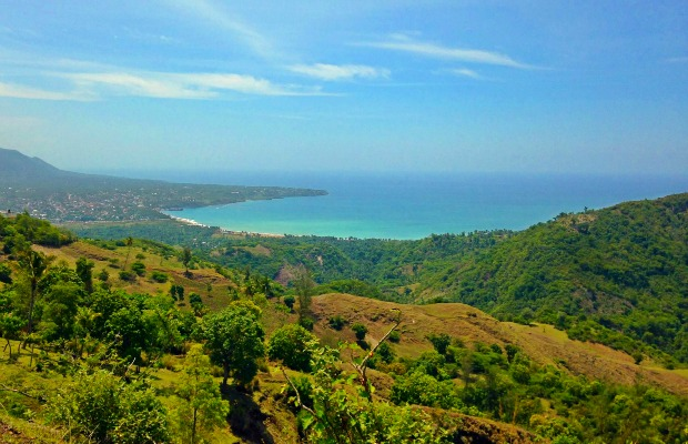 A hillside with an ocean view in Haiti