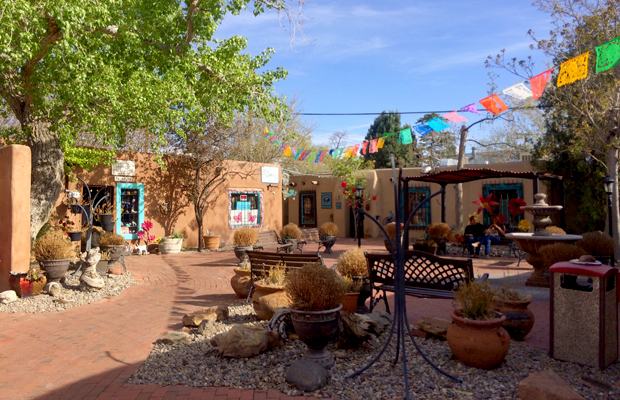 A hidden plaza in Old Town Albuquerque