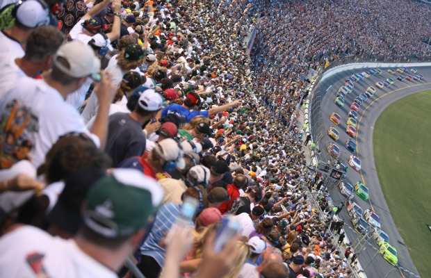 Fans cheer at the Daytona 500 in Daytona Beach, Florida.