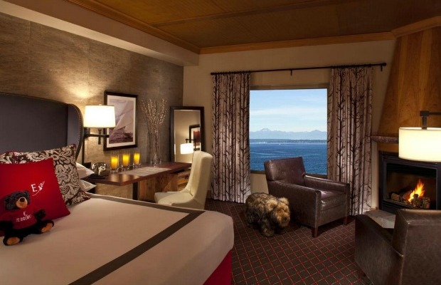 A guestroom at The Edgewater in Seattle.