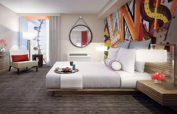 A guestroom at The Linq in Las Vegas.