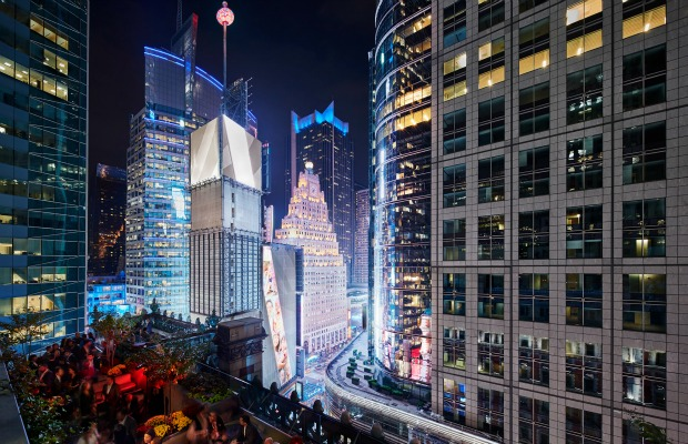 A view of the Times Square ball from the rooftop of The Knickerbocker