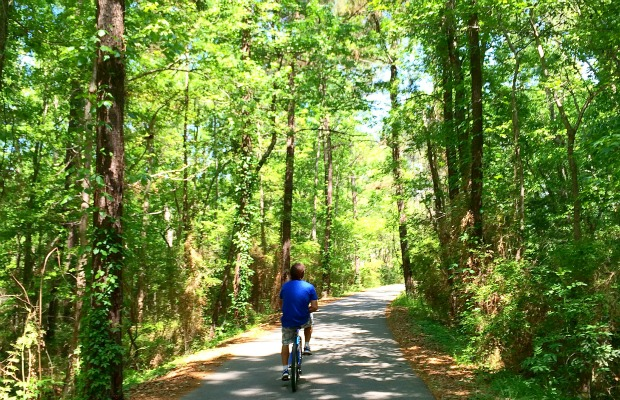 Tammany Trace Bike Trail in Covington, Louisiana.
