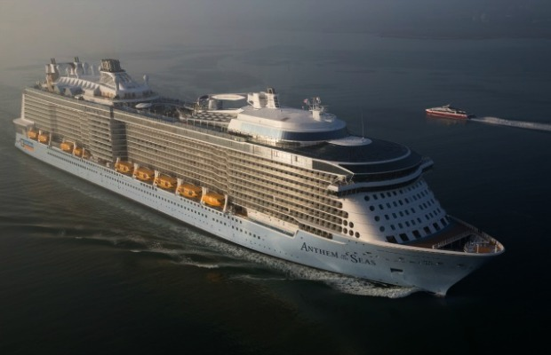 An aerial view of Royal Caribbean's Anthem of the Seas.
