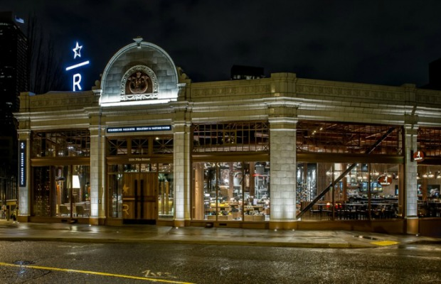 The exterior of Starbucks Reserve and Roastery in Seattle
