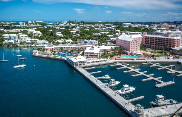 An aerial view of the Hamilton Princess and Beach Club in Bermuda.