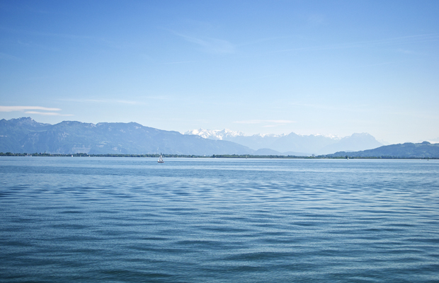 Swiss Alps, as seen from the Bodensee (Lake Constance)