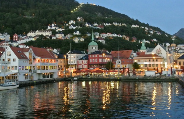 A view of Bergen, Norway from the ferry